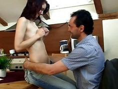 Old teacher is drilling pleasant babe doggy style