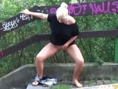 Freaky babes like to piss around when taking a walk