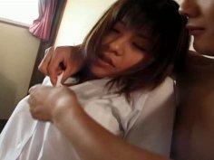 Horny Japanese wench Eiri Ueno rubs her wet knickers