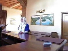 Slutty Arab babe takes big schlong in hotel room